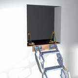 Zoldertrap Roto Junior verticaal Aluminium in muur opening met veersysteem