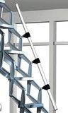 Zoldertrap Roto Junior verticaal Aluminium schaartrap met veersysteem telescopische armleuning