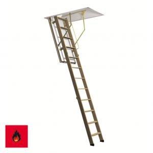 Zoldertrap Roto ProfiLine brandwerend trap in hout Vouwbaar in 3 delen warmte isolerend